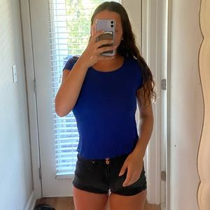 Lightweight Strappy Backed Blue Top